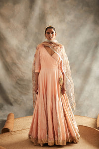 Peach Chanderi Double Layered Silver Zari Angarkha With Chudidaar & Madubani Hand Painted Kiran Embellished Organza Dupatta