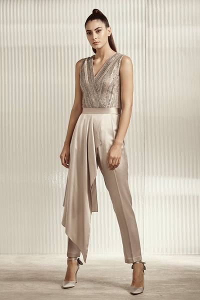 Grey Draped Jumpsuit With Overlap Embellished Yoke