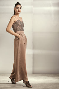 Bronze Flared Jumpsuit With Crystal Yoke