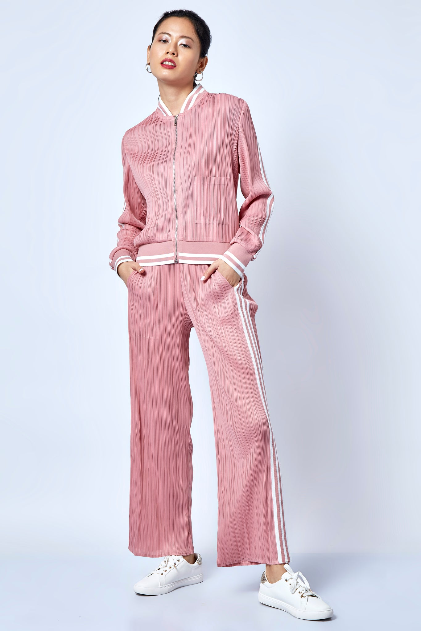 Light Pink Pleated Co-Ord Track Set