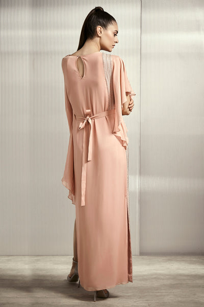 Light Rose Gown With Embellished Belt