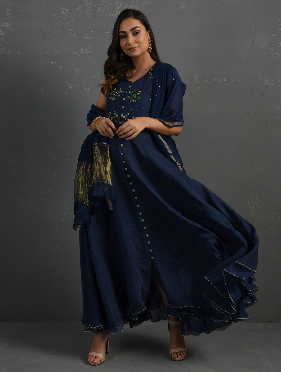 Indigo Chanderi Front Open Sleeveless Kurta With Hand Embroidered Yoke & Zari Woven Chanderi Dupatta With Sequin Work