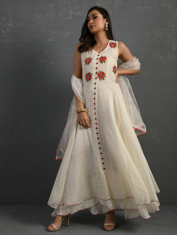 Ivory Chanderi Front Open Sleeveless Kurta With Hand Embroidered Yoke & Zari Woven Chanderi Dupatta With Sequin Work