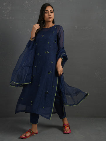 Indigo Cotton Straight Kurta With All Over Floral Embroidery Paired With Cotton Pants, Slip & Dupatta