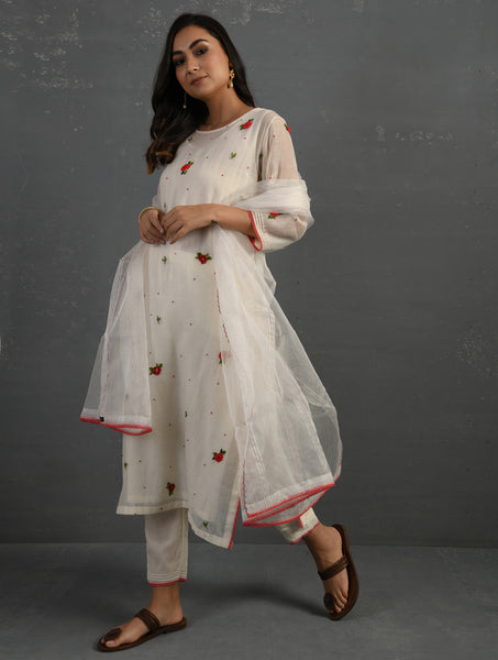 Ivory & Pink Straight Cotton Kurta With All Over Floral Embroidery Paired With Pants, Slip & Dupatta