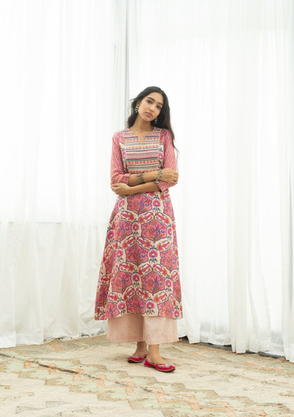 Pink Beadwork Kurta And Palazzo Set