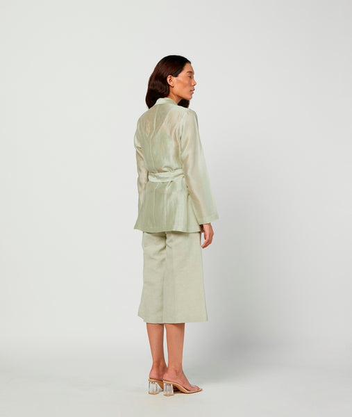 Moss Printed Linen Pants With Lining