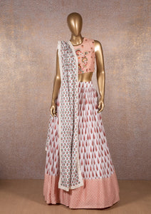 White Printed Skirt with Peach Embroidered Crop Top & Dupatta