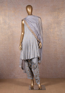 Grey Embroidered Dhoti Set
