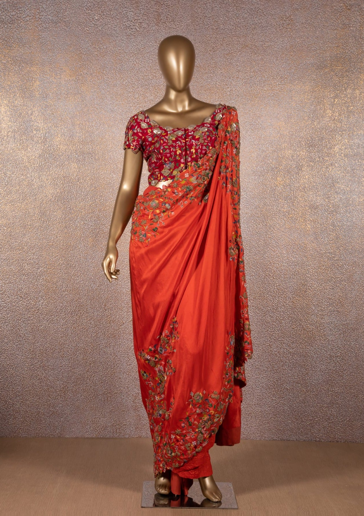 Ginger orange Embroidered Saree with Red Blouse
