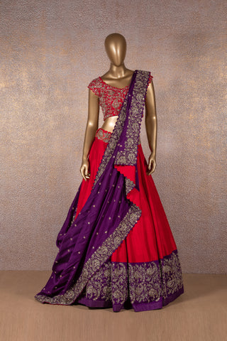 Red Lehenga With Deep Violet Embroidered Border Paired With Zardozi Embroidered Blouse & Violet Dupatta