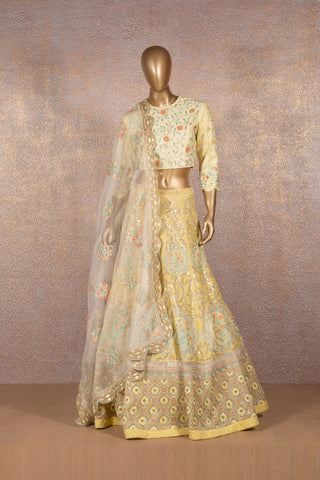 Lemon Yellow French Knot Embroidered Lehenga