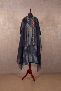 Blue Printed Tunic with Embroidered Cape