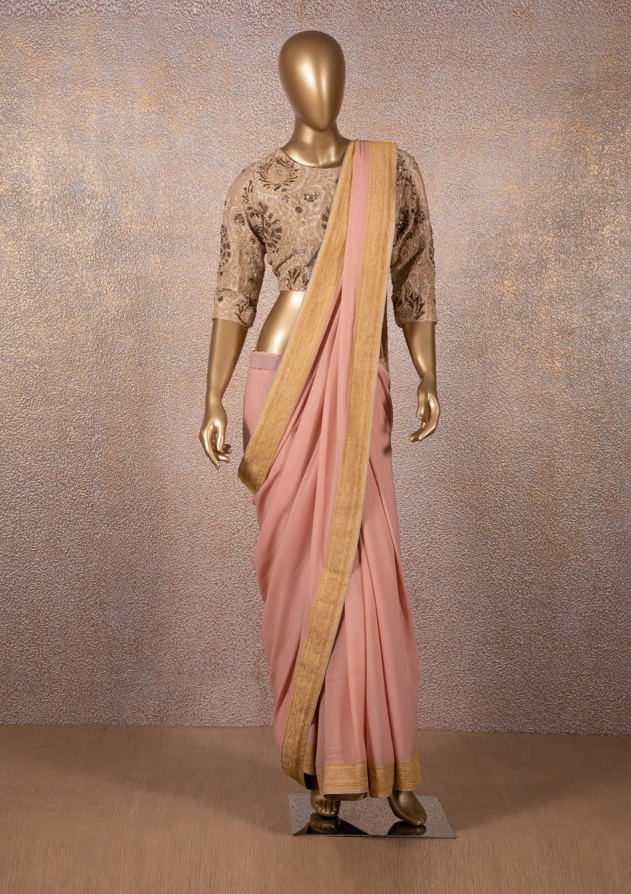 Dusty Pink Woven Saree with Aqua Gold Zari Blouse