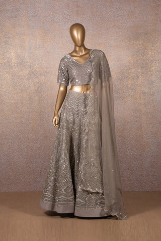 Grey Colonial Lettice Embroidered Lehenga With Sequins Blouse & Scallop Dupatta