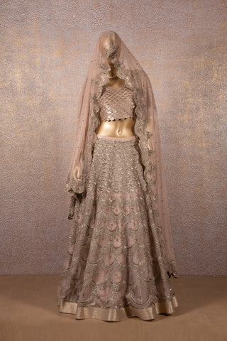 Dusty Rose Silk Organza Scallop Floral Embroidered Lehenga With Sequins Embroidered Blouse & Dupatta
