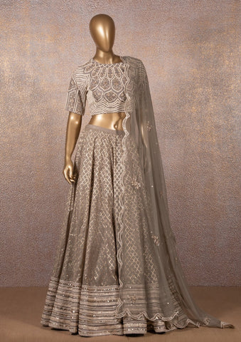 Grey Badla Cut Work Lehenga With Colonial Embroidered Blouse & Dupatta