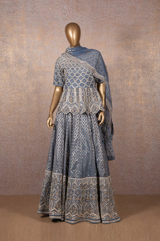 French Blue Badla Cut Work Lettice Embroidered Lehenga With Colonial Embroidered Peplum & Dupatta