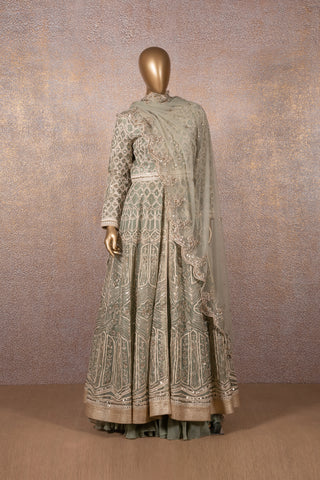 Pale Green Colonial Lettice Embroidered Long Flared Front Open Jacket Anarkali With Lehenga Skirt