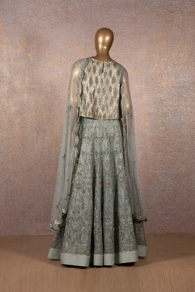 Opal Blue Sequins Embroidered Lehenga & Crop Top With Scallop Dupatta