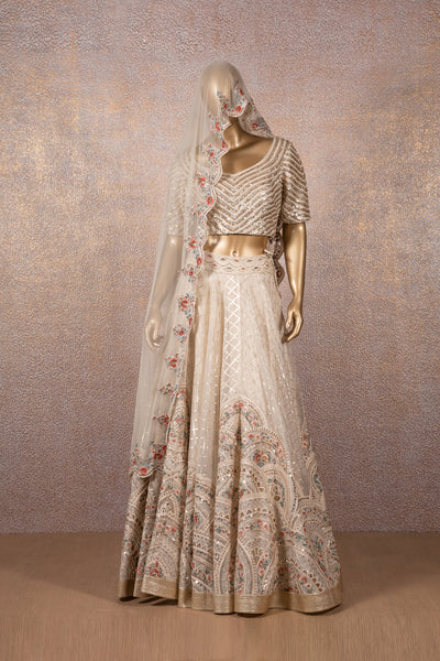 Ivory Multi Embroidered Lehenga With Sequins Blouse & Floral Scallop Dupatta