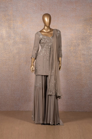Grey Short Sequins Kurta with Tiered Sharara and Dupatta