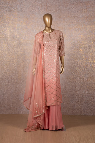 Coral Sequins kurta with Sharara and Dupatta