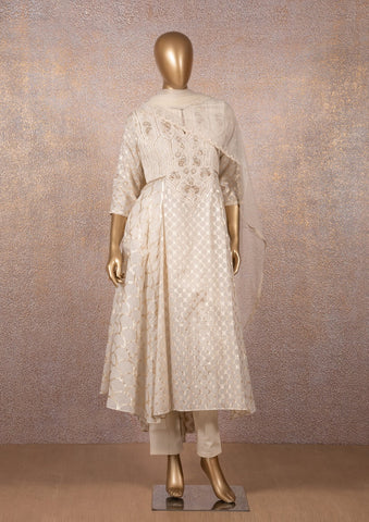 Ivory Badla Cutwork Kurta with Narrow Pants and Dupatta