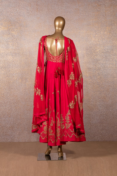 Raspberry Red Embroidered Anarkali Set