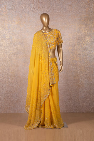 Yellow Sequins Saree
