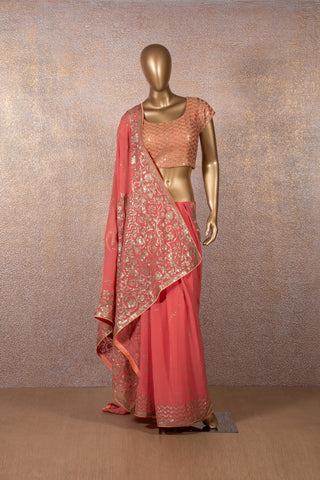 Coral Sequins Saree