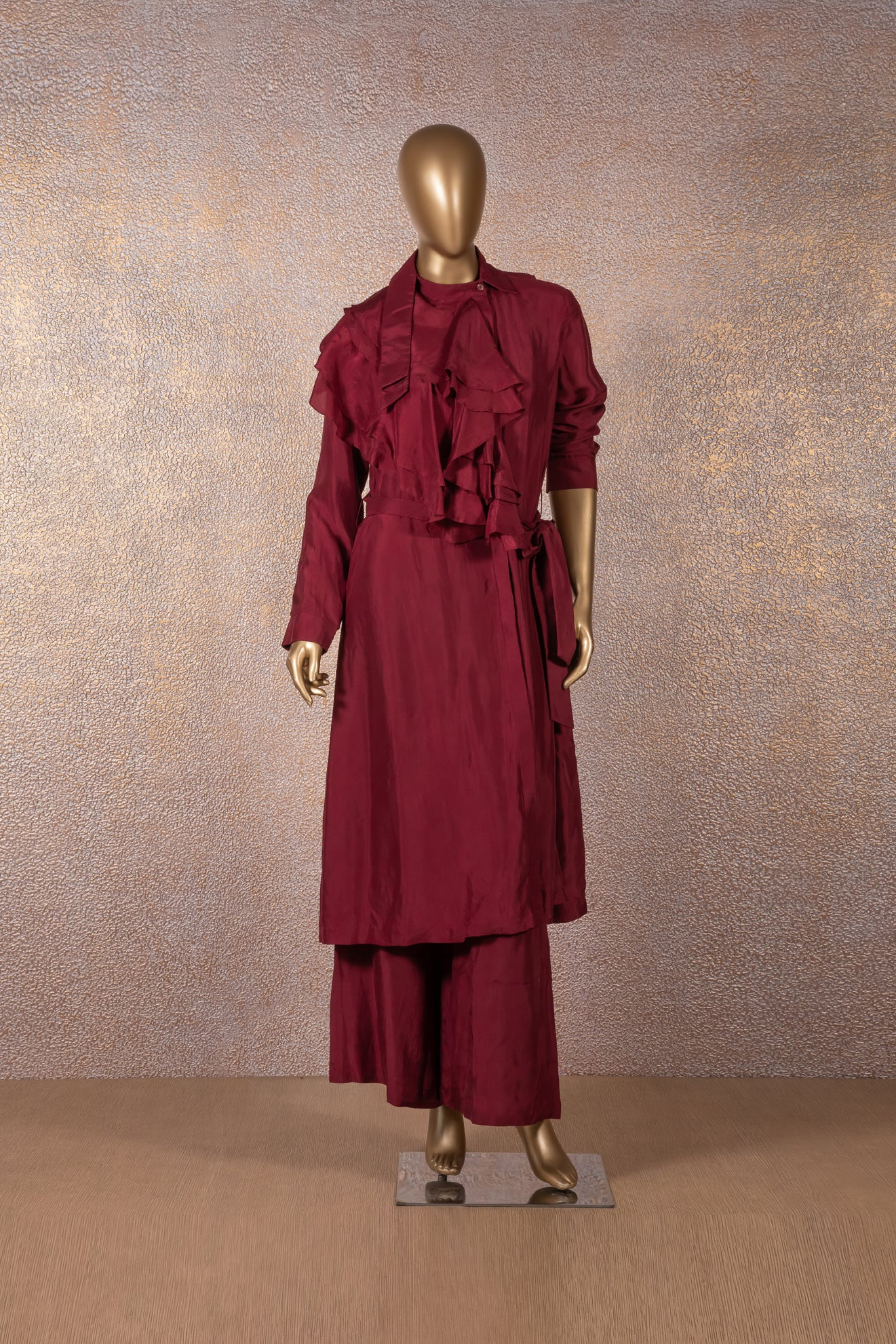 RIDHI MEHRA - Wine Tunic with Ruffle Neckline and Pants
