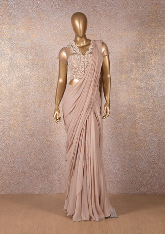 Blush Pink Drape Saree with Embroidered Blouse