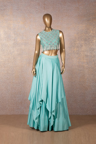 Pale Turquoise Blue Layered Skirt with Embroidered Crop Top