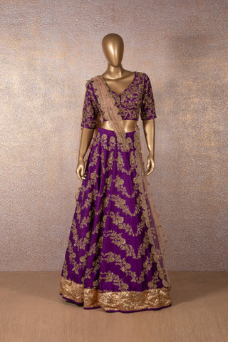 Violet Embroidered Lehenga & Blouse With Blush Pink Scallop Dupatta