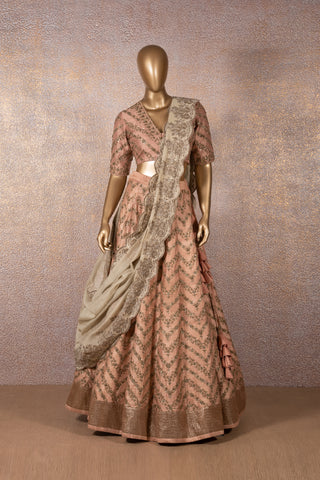 Peach Embroidered Lehenga & Blouse With Beige Scallop Dupatta