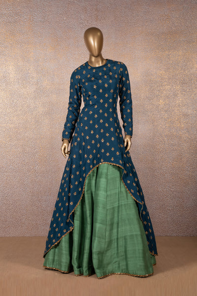 SVA - Navy Blue Embroidered High-Low Kurta With Seaweed Green Skirt
