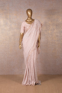 Baby Pink Chikankari Embroidered Saree