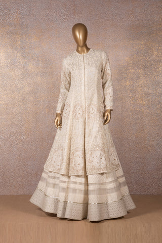 Ivory Woven Lehenga with Embroidery on Hem