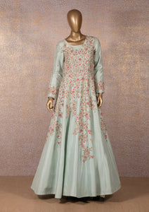 ANEESH AGARWAL - Powder Blue Floral Embroidered Gown