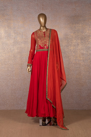 Red Dress with Embroidered Yoke