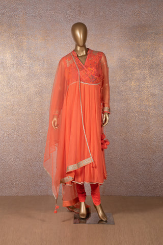 Carrot Orange Angrakha Dress
