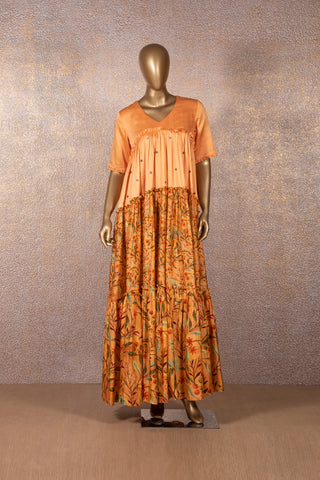 Apricot Printed Tier Dress