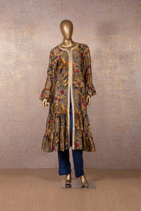 Dull Umber Printed Frill Dress