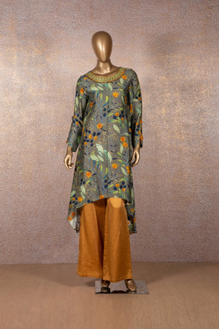 Seaweed Green Printed Tunic with Mustard Palazzo