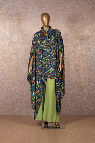 Blue Printed Cape with Green Georgette Pants