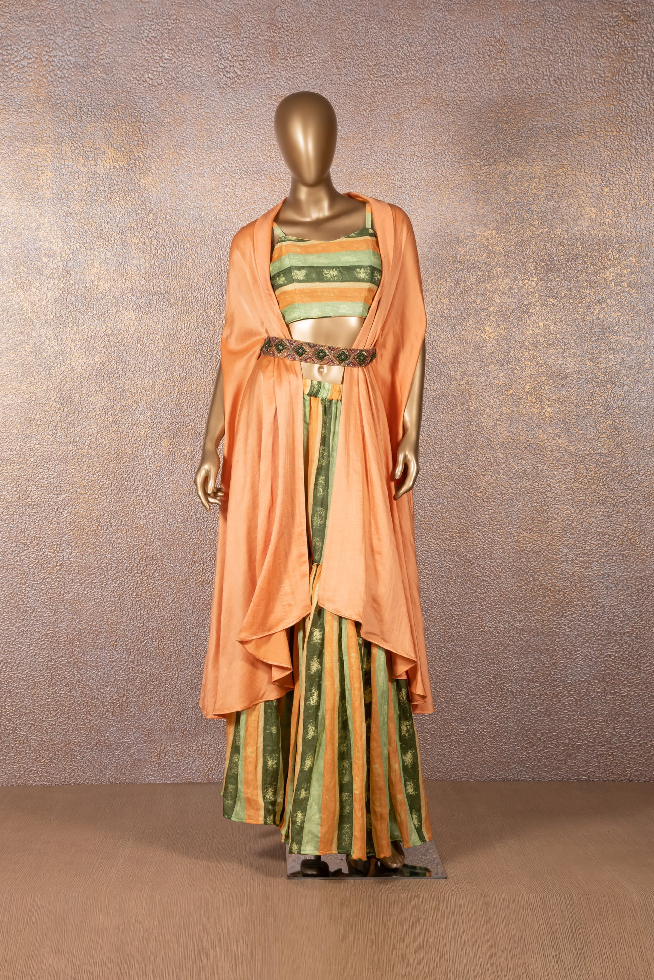 Printed Sharara & Bustier with Apricot Jacket & Embellished Belt