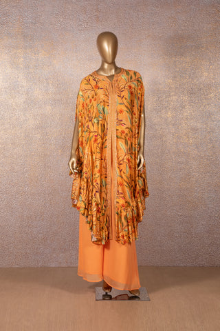 Orange Printed Frill Tunic