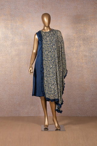 Blue Tunic with Seaweed Green Printed Frill Drape