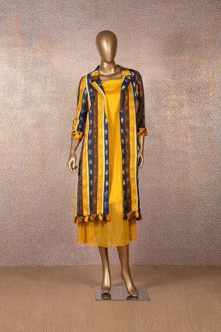 Deep Yellow Dress with Printed Jacket